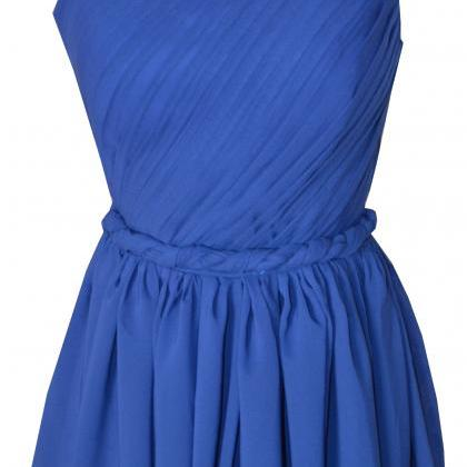 One Shoulder Royal Blue Simple Eleg..