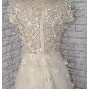Short Sleeves Lace Appliques Sweeth..