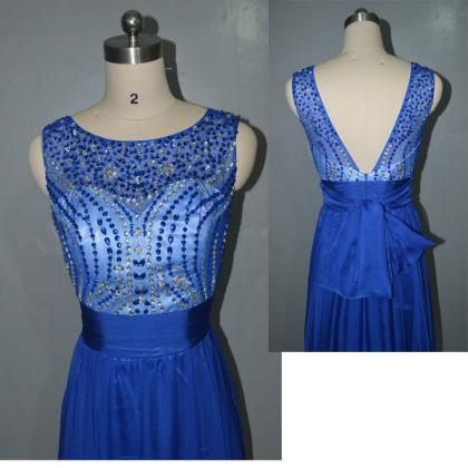 Royal Blue prom dress,Fashion beade..