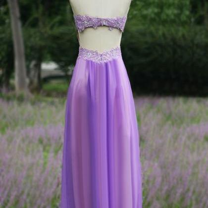 sweetheart Lavender Backless romant..