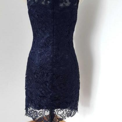Lace short Prom Dress ,evening navy..