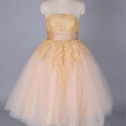 champagne Lace Tulle Gold Short Pro..