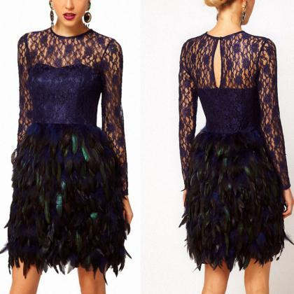 646922307462 Navy Blue Lace Cocktail Dress Short Prom Dress