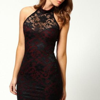 Sexy halter lace cocktail dress,min..