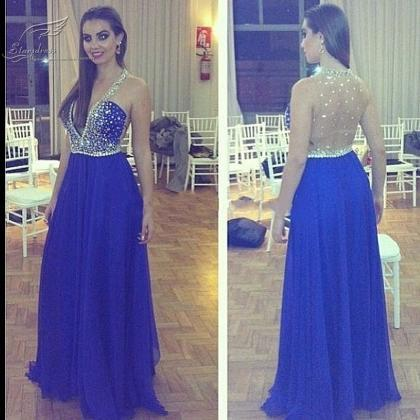 Royal Blue beaded deep V neck beade..