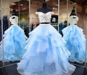 Blue Two Piece Prom ..