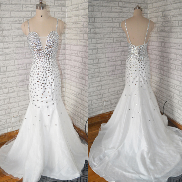 Spaghetti Strap Mermaid Long White prom dress with silver beaded ,Fashion full Crystal beaded mermaid evening dress.sexy shinning club dress
