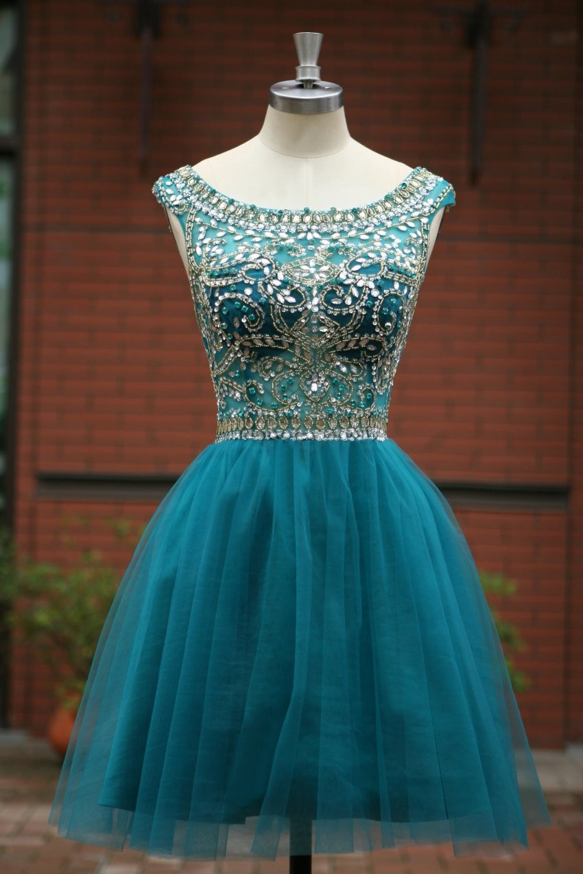 Elegant Sleeveless Tulle Short Prom Dress 2015, Party Dress,evening ...
