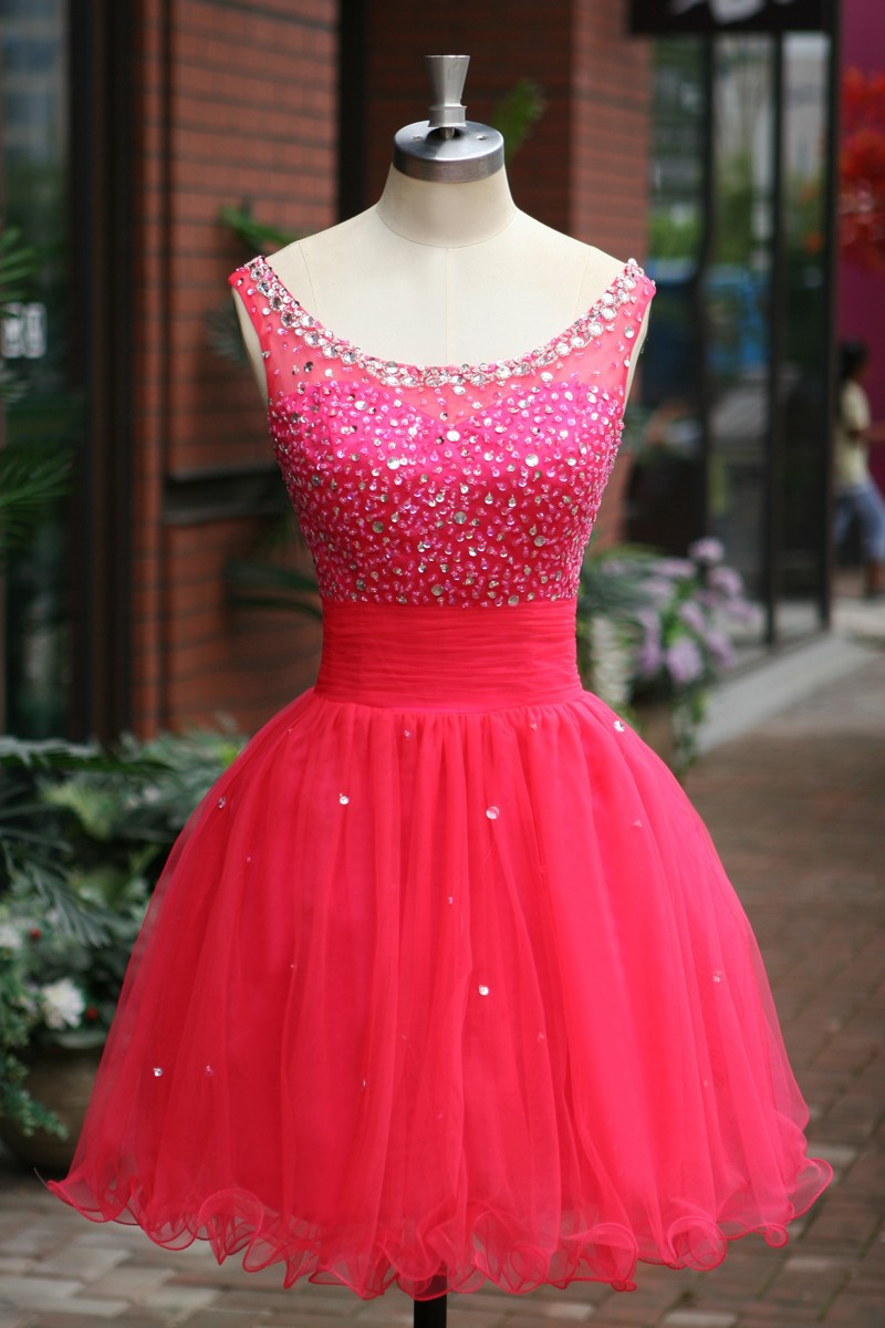 Elegant Sleeveless Pink Tulle Short Prom Dress 2015 Party