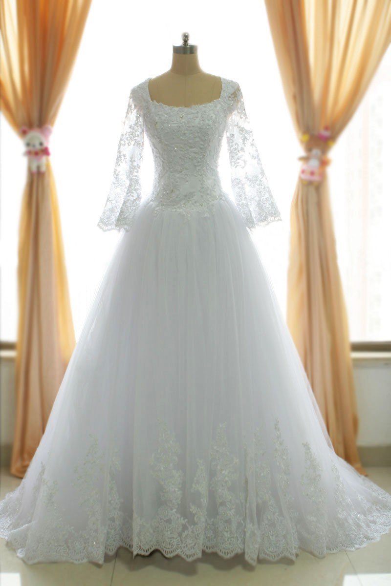 A Line Muslim Lace Wedding Dresses, White Wedding Gowns Bridal ...