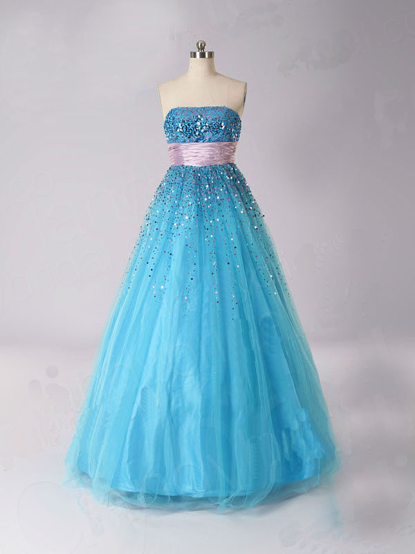 Blue Ball gown lovely Priciness Prom dress long sequin Beaed dress