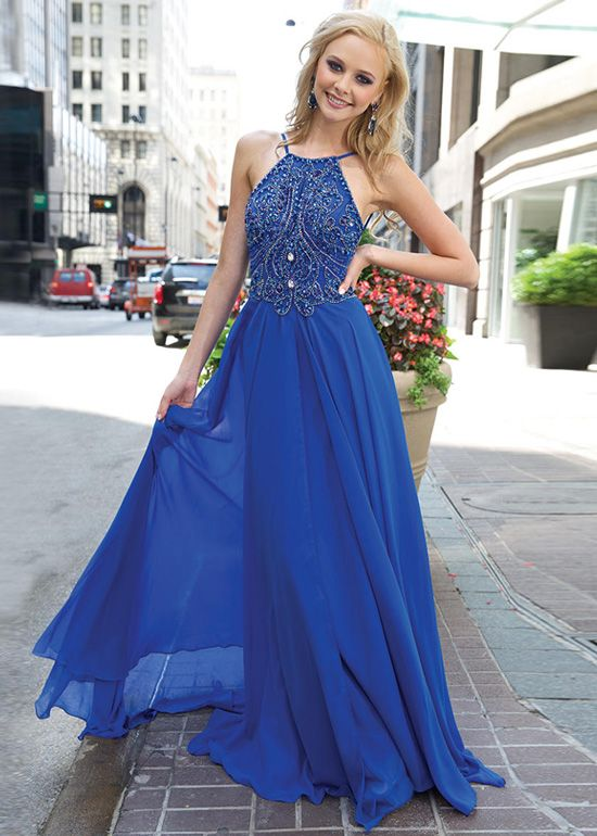 Royal blue beaded sleeveless prom dress long chiffon dress elegant popular  graduation dress formal dress b51fdafac