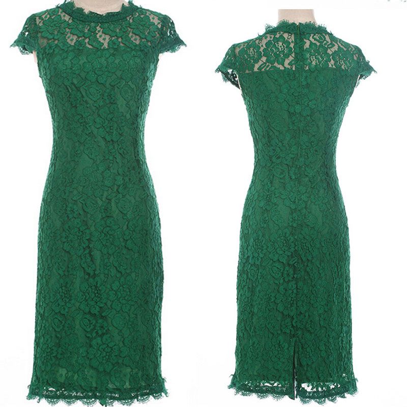 O-Neck Dark Green Lace Cap Sleeve Sheath Knee Length Cocktail Dress ...