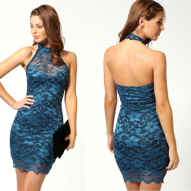 Sexy halter lace cocktail dress,mini sexy homecoming dress,short prom dress,evening dress,club dress