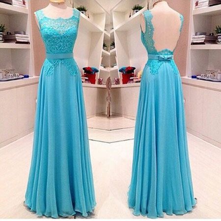 Sleeveless lace and chiffon long blue prom dress a line floor length evening formal dresses