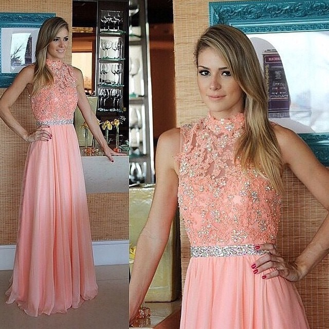 High neck peach chiffon dress with lace, sleeveless beaded A line floor length long prom evening dress