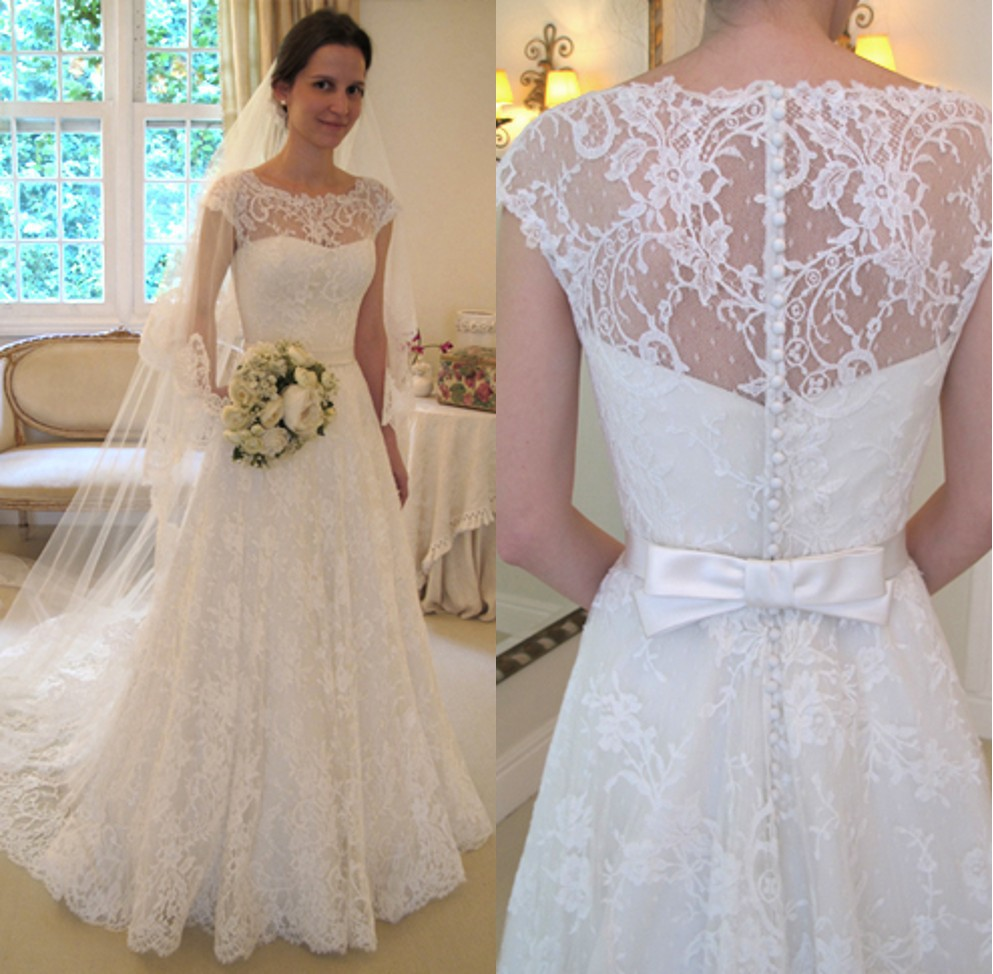 Cap Sleeve Boat Neck Ivory Lace A Line Floor Length Beaded Wedding ...