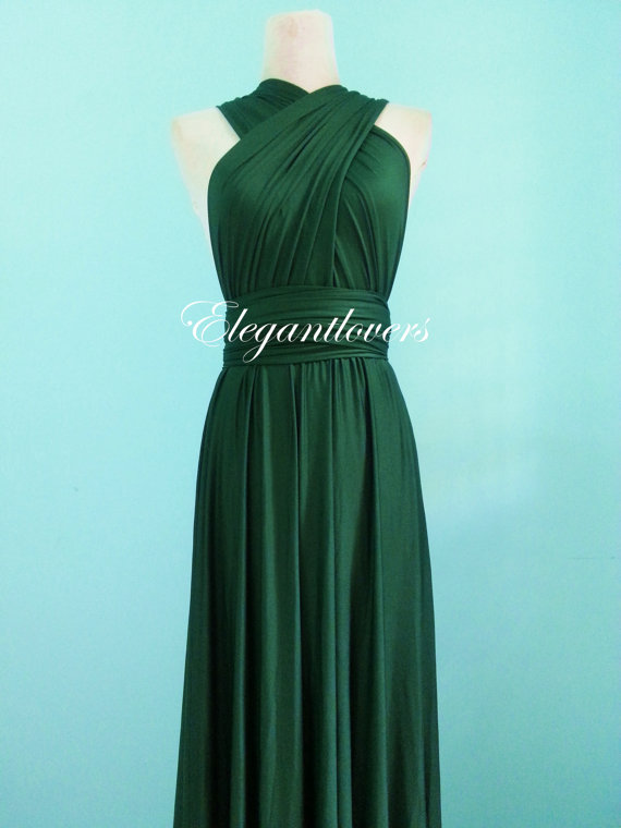 Dark Olive Wedding Dress Bridesmaid Dress Infinity Dress Wrap Dress