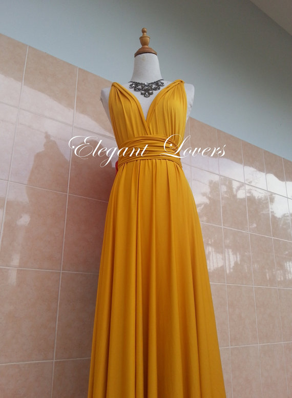 Golden Yellow Color Bridesmaid Dress Wedding Dress Infinity Dress