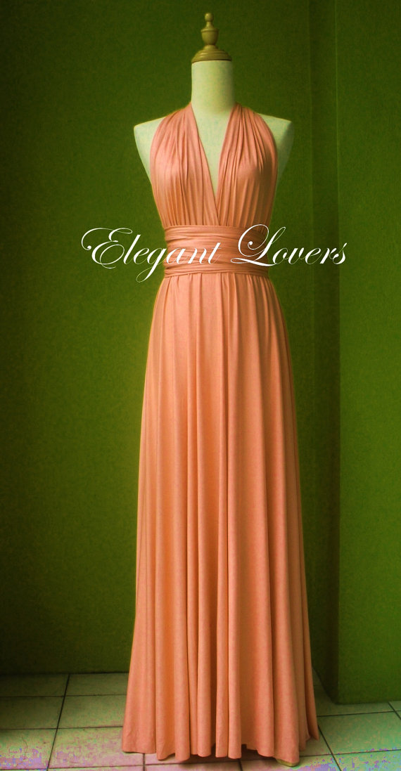 Coral Dress Wedding Dress Bridesmaid Dress Infinity Dress Wrap Dress