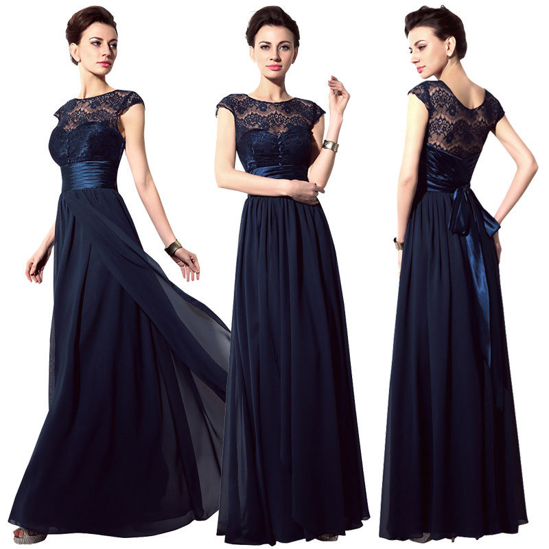 8a5c83a6177e Cap sleeve navy blue chiffon prom dress,A line lace top long evening dress,formal  party dress,floor length homecoming dress,elegant graduation dress