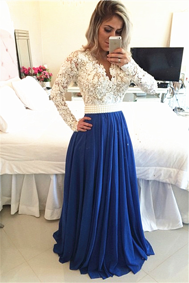 Weddings & Events Loyal Vestidos De Festa Lace Blue Backless Deep V Neck Cap Sleeve Long Evening Prom Dresses Red Carpet Gown 2016 Free Shipping Belt