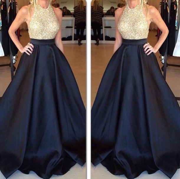 1c73859435 Designer halter sleeveless gold sequins and navy blue satin long dress prom