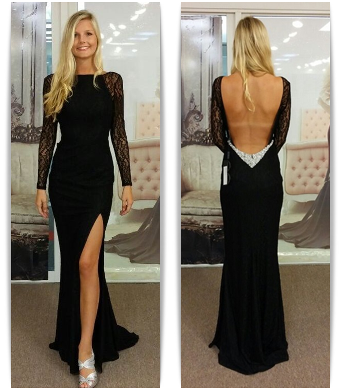 Sexy Boat Neck Long Black Lace Sleeves Mermaid Long Prom Dresses