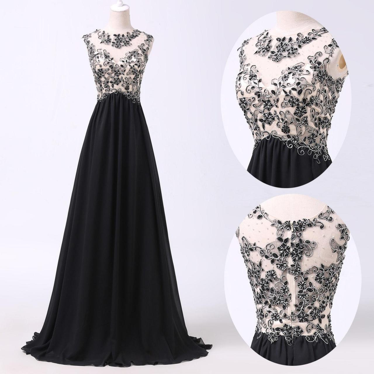 Fashion o neck sleeveless appliqued and beaded a line floor length long black party dress