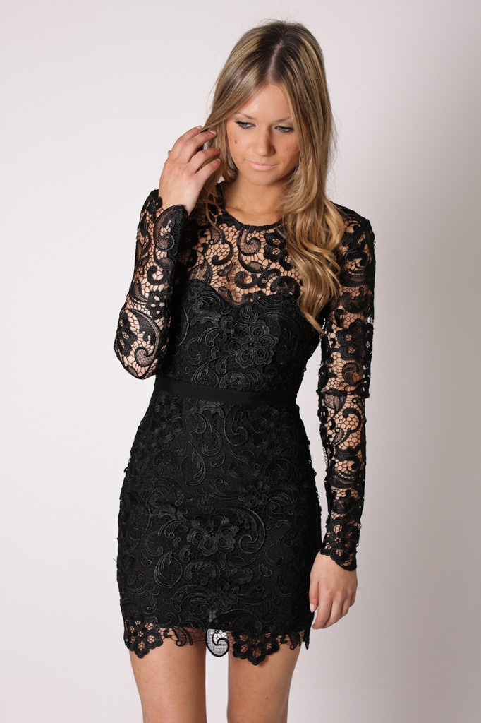 087b170282dc Short black lace cocktail dress,formal evening dress,party dress knee  length,sheath formal dress,short evening dress,long sleeve homecoming dress,girls  ...