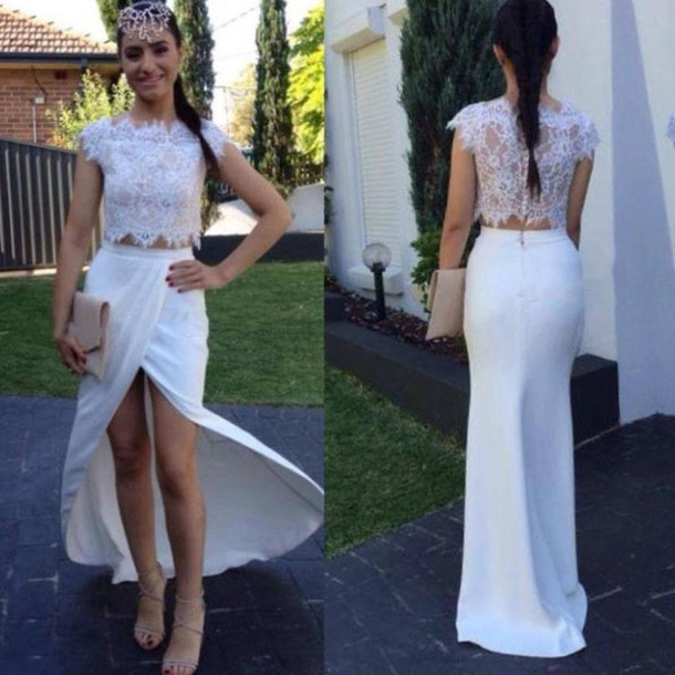 4296c8d59c2 Cap Sleeve Ivory Quality Lace Two Piece Evening Dresses