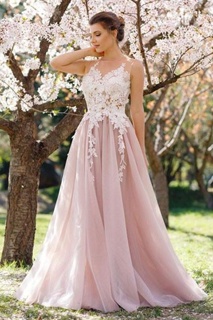 long evenin dress,pink evening dress Pink Tulle Long Prom Dress with Apliques, Modest Prom Dress, Elegant Prom Evening Dress, Prom Dresses 2017