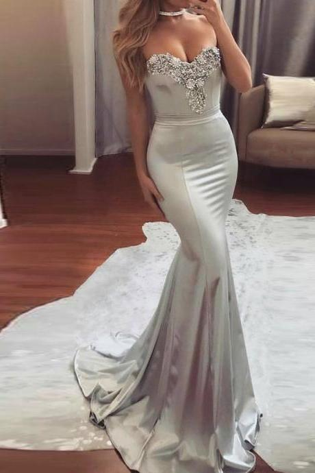 Long evening dress,Eveing Gown ,sliver Prom Dress with Beading, Mermaid Prom Dress, Sexy Evening Dress, Long Prom Dress, Prom Evening Gowns