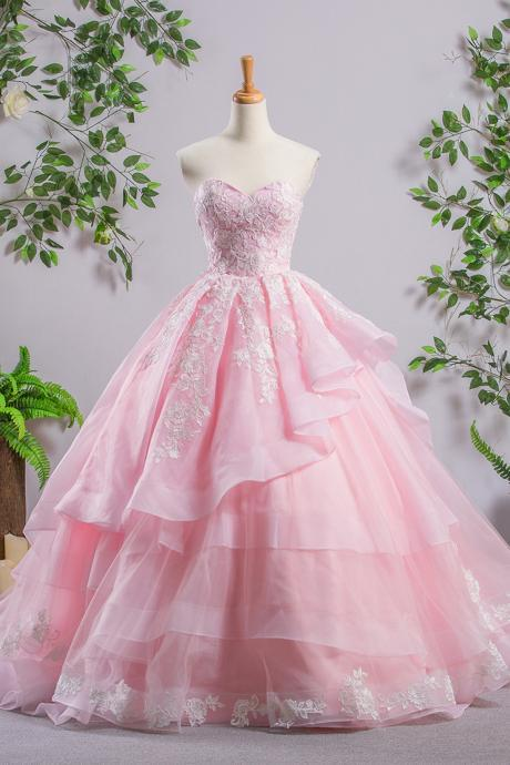 Long Pink Sweetheart Prom Dresses, A-line Lace Cheap Evening Prom Dresses, Sweet 16 Dresses,Quinceanera Dresses