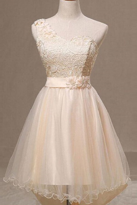 One Shoulder Short Homecoming Dresses, Lace Sleeveless Homecoming Dresses, Bridesmaid Dresses
