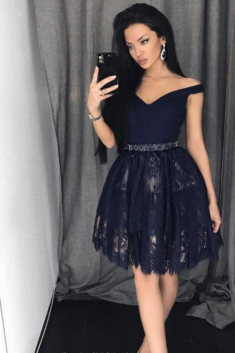 Short Off Shoulder Homecoming Dresses, Lace Beaded Sash Party Dresses, V-neck Homecoming Dresses