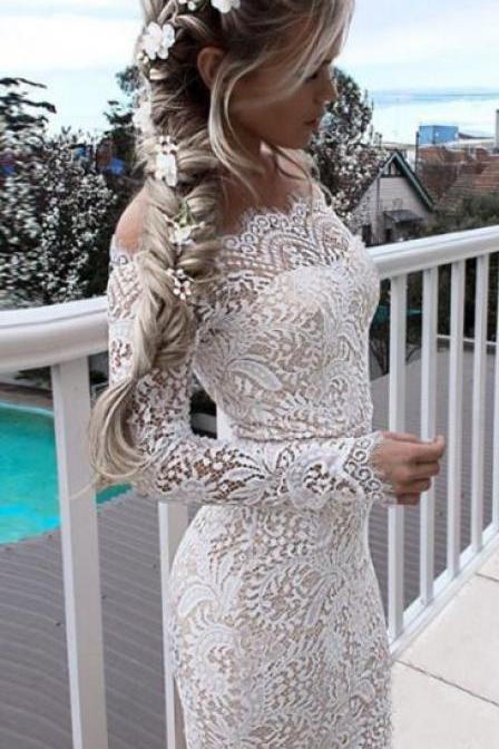White Lace Bodycon Dresses, Off Shoulder Long Sleeveless Homecoming Dresses, Short Party Dresses