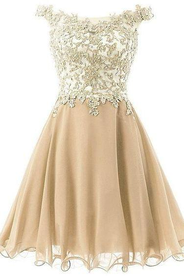 Lace Short Homecoming Dresses, Off Shoulder Beaded Homecoming Dresses, Gold Tulle Party Dresses