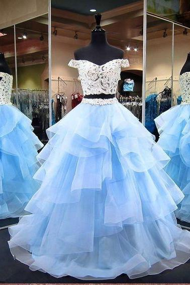 Blue Two Piece Prom Dresses, Long Lace Off Shoulder Prom Dresses, V-Neck Evening Dresses
