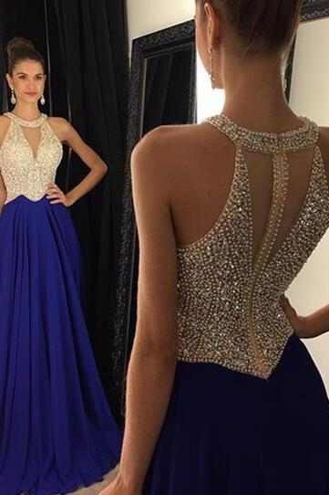 Long Beaded Prom Dresses, Halter Sleeveless Prom Dresses, Royal Blue Evening Gown
