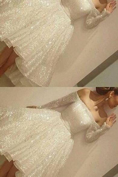 Sparkle White Prom Dress, Off Shoulder Long Sleeve Prom Dresses, Short Evening Dresses