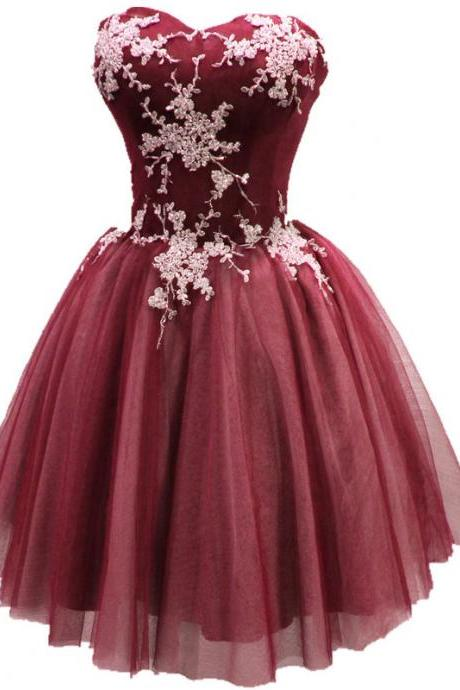 Short Burgundy Tulle Homecoming Dress with White Applique, Cute Party Dress 2018, Sweetheart Homecoming Dresses