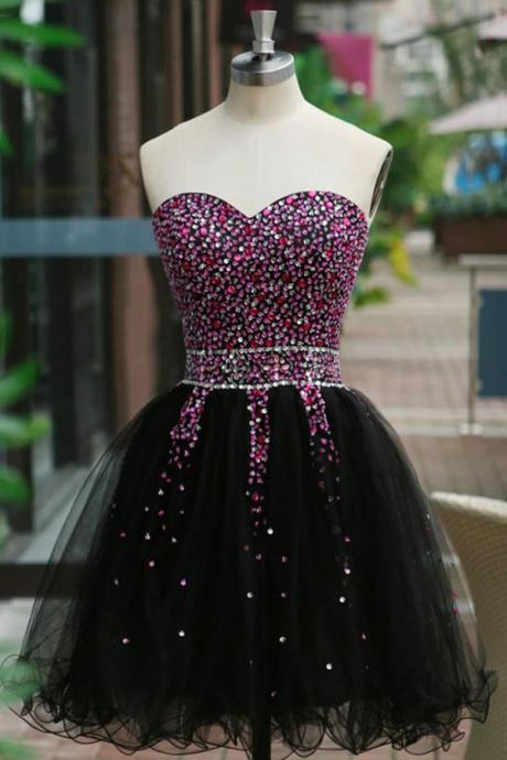 Short Black Sweetheart Homecoming Dresses, Tulle Beaded Homecoming Dresses, Short Strapless Cocktail Party Dresses