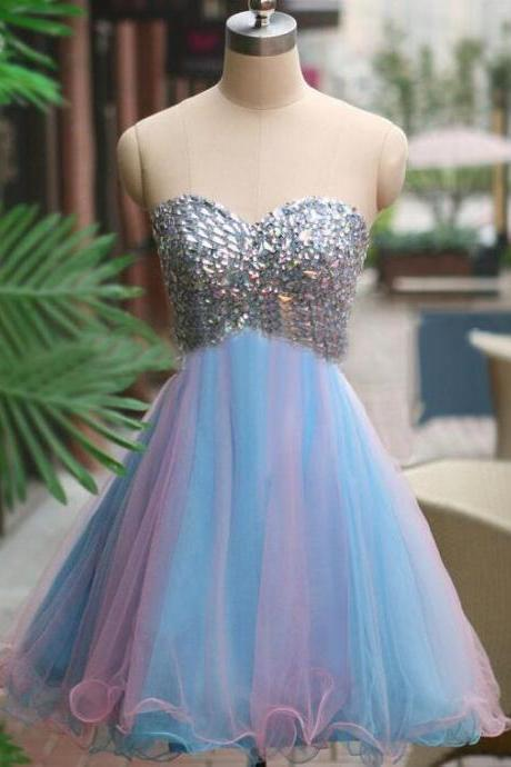 Sweetheart Short Homecoming Dresses, Tulle Beaded Homecoming Dresses, Short Colorful Homecoming Dresses, Strapless Cocktail Party Dresses