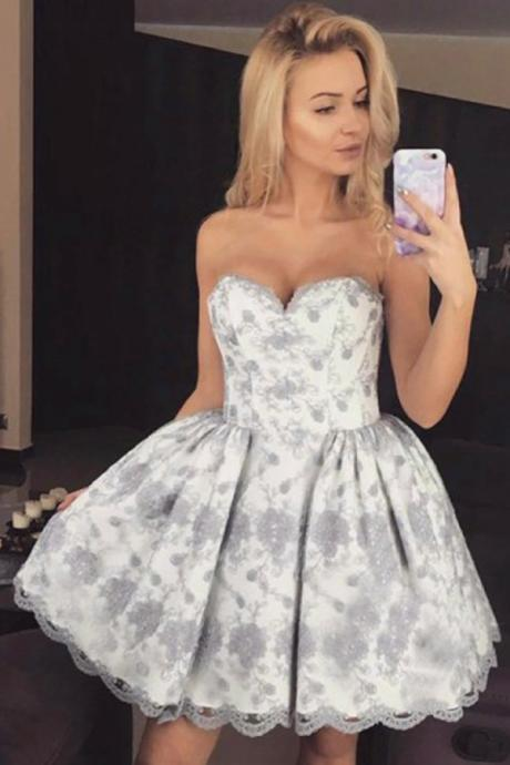Sweetheart Fashion Homecoming Dress, Short Lace Homecoming Dresses, A-Line Strapless Homecoming Dresses, Short Cocktail Party Dresses