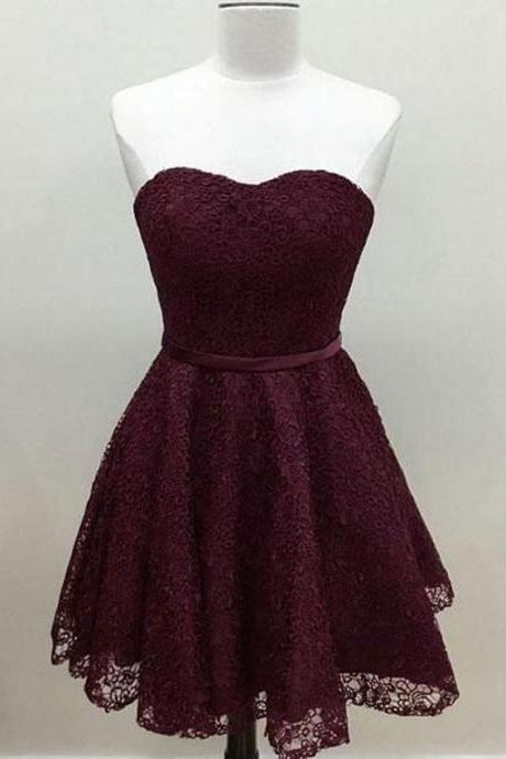 Burgundy Sweetheart Homecoming Dress, Short Lace Ruffled Homecoming Dress, A-Line Cocktail Party Dress