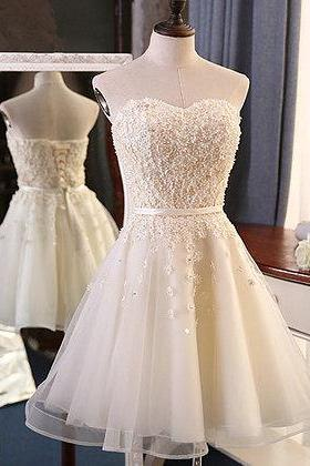 Sweetheart Creamy Tulle Homecoming Dress, Short Lace Appliques Homecoming Dress, Short Cocktail Party Dress