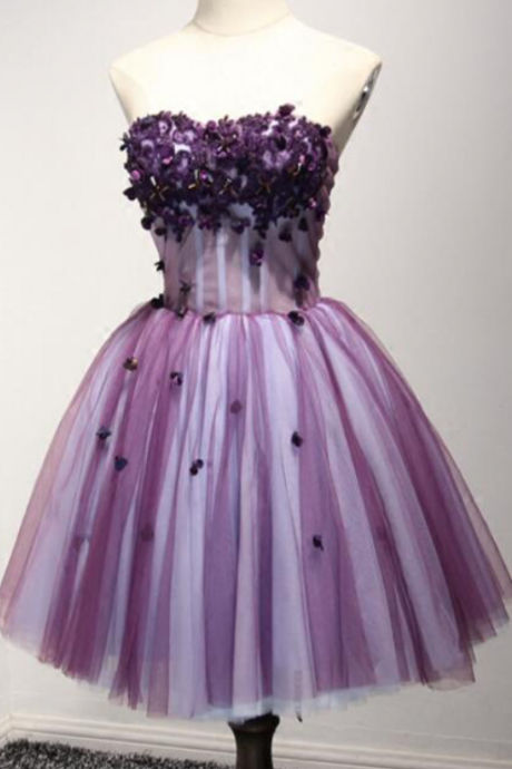 Sweetheart A-Line Homecoming Dress, Short Mini Tulle Homecoming Dress, Short Prom Dress Cocktail Party Dress