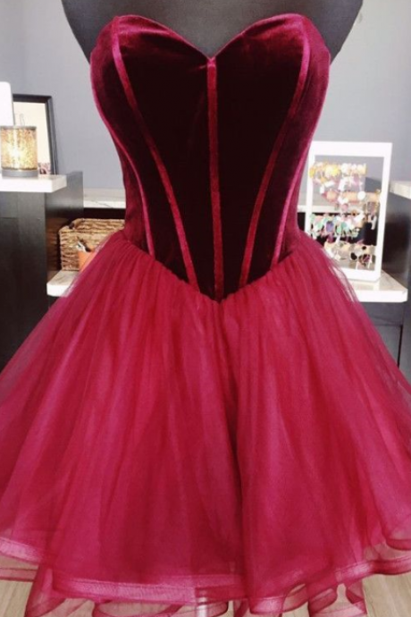 Sweetheart Velour Homecoming Dress, Short Ruffle Homecoming Dress, Burgundy A-Line Prom Graduation Dresses, Cocktail Party Dresses