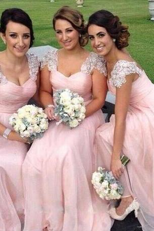Beach Chiffon Elegant Bridesmaid Dresses Long Pink Bridesmaid Dresses Prom Party Dresses